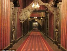 The Haunted Manison's endless hallway, pictured with lights on: Still frighting?