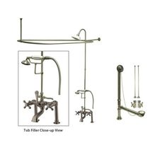Satin Nickel Clawfoot Tub Faucet Shower Kit with Enclosure Curtain Rod 109T8CTS