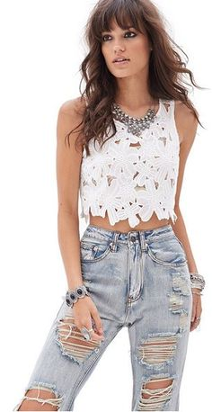 Embroidered Floral Crop Top - Forever21