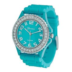 608-545 - Geneva Platinum Women's Turquoise Silicone Link Strap Watch