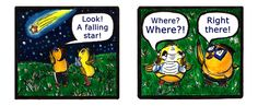 Falling Stars Webcomic from 'Let's Chicken! Check it out! Baby Chickens, Falling Stars, Check It Out, Cute Babies, Let It Be, Comics, Funny, Shooting Stars, Funny Parenting
