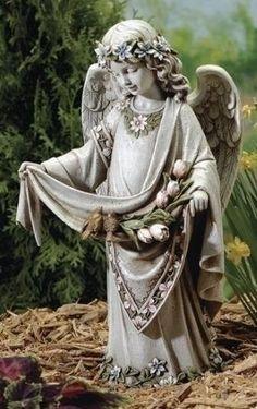 **Angel with Birds on Dress Garden Statue