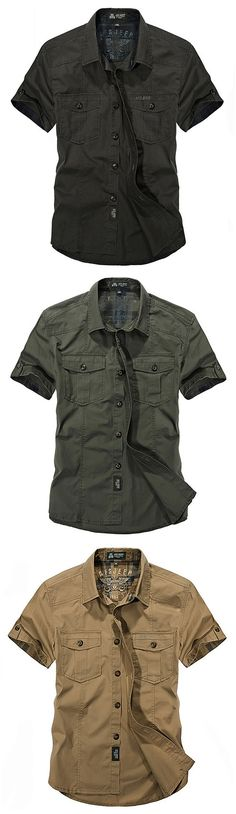AFSJEEP Outdoor Sport Cotton Breathable Multi Pockets Cargo Short Sleeve Dress Shirts for Men - Tap the link to see the newly released survival collections for tough survivors out there! Komplette Outfits, Fashion Outfits, Mens Work Shirts, Denim Shirts, Shirt Men, Pantalon Cargo, Magazine Mode, Cargo Short, Outdoor Outfit