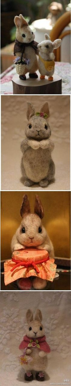 DiyReal.com the cutest little needle felted bunny rabbits ever,cool for next easter or a birthday gift...this fiber artist really knows how to add expression to faces on soft toy animals