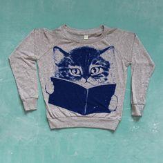 book lovin' kitty sweatshirt.