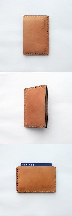 Vegetable tan handmade leather cardholder. minimal mens wallet, sleek women wallet