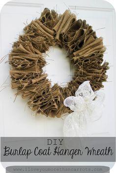 I Love You More Than Carrots: Project Pinterest :: Burlap Coat Hanger Wreath :: $10 DIY