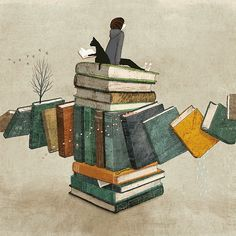 On top of reading / En la cima de la lectura (ilustración de Yoko Tanji)