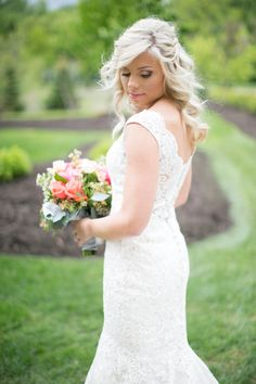 Love this bridal look. The lace bridal gown is gorgeous!   Krista Reynolds Photography