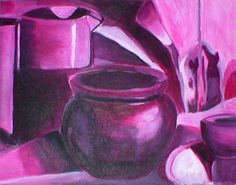 A purple monochromatic painting. The thing that stands out the most is the flower pot in the center, everything else seems to be melting. Acrylic Painting Lessons, Artist Painting, Painting & Drawing, Acrylic Art, Still Life Drawing, Painting Still Life, Monochromatic Drawing, A Level Art, Colorful Drawings
