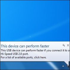"Resolving USB Speed Issues, ""This Device Can Perform Faster"" Error"