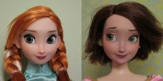 doll repaint before and after  Anna/Rapunzel