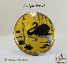 Antique Lacquered Brooch by DLSpecialties on Etsy