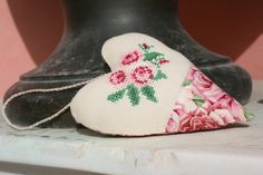 fabric rose heart