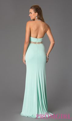 Image of Beaded Halter Prom Gown JVN Jovani 20530 Back Image