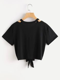 Cut Out V Neckline Knot Front TeeFor Women-romwe Girls Fashion Clothes, Teen Fashion Outfits, Mode Outfits, Outfits For Teens, Trendy Fashion, Girl Fashion, Girl Outfits, Crop Top Outfits, Cute Casual Outfits