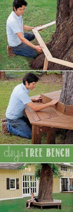 #4. Make a custom tree bench! ~ 17 Impressive Curb Appeal Ideas (cheap and easy!) #backyardideasonabudget #frontyard