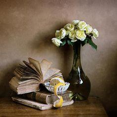 #still #life #photography • Yellow Roses And Opened Book Print By Nikolay Panov