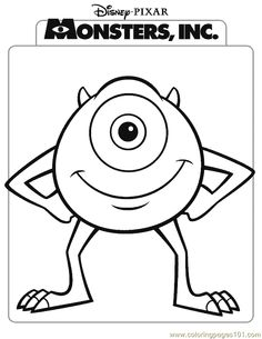 Free printable monsters Inc coloring pages for kids. Color this online pictures and sheets and color a book of monsters Inc sheets. Monster Coloring Pages, Cartoon Coloring Pages, Disney Coloring Pages, Coloring Pages To Print, Printable Coloring Pages, Coloring For Kids, Coloring Sheets, Coloring Pages For Kids, Coloring Books