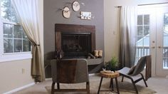 DIY Stucco Fireplace: Want to give your fireplace loads of texture without calling in a mason? We've got the trick: textured paint! This special paint can be found at the local hardware store. It's really easy to use and can be painted any color! Here's how: http://livewelln.co/1kRjBLG