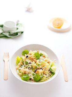 Cous cous salad with peanuts and lettuce via Helena de Almeida of Sabores de Canela