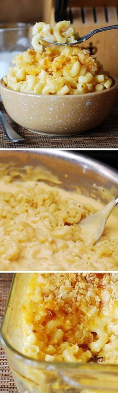 Homemade macaroni and cheese. Cooked on the stove top, then baked in the oven: creamy, buttery, with very crisp golden brown breadcrumbs on top!