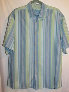 Tommy Bahama Sz Large 100% Silk Button Front Shirt Blue White Green Striped  #TommyBahama #ButtonFront