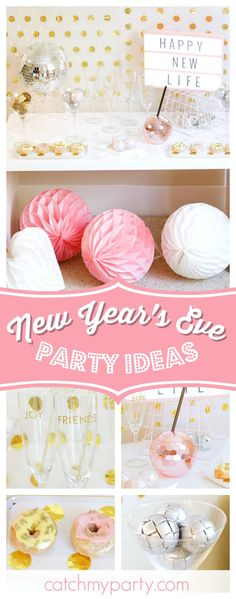 Celebrate the New Year with a gorgeous party like this one! The donuts look delicious!! See more party ideas and share yours at CatchMyParty.com #newyearseve #newyear #nye