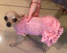 Designer dog hand knit ruffle pink dress with rose bow Cocktai dog dress Designer dog sweater Natural fabric summer dog dress