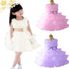 Retail !2013 new sleeveless Waist Chiffon Dress Girls Toddler 3D Flower Tutu Layered Princess Party Bow Kids Formal Dress--1pcs $13.50 - 15.29