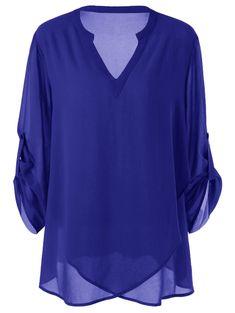 Plus Size Split-Neck Adjustable Sleeve Blouse -