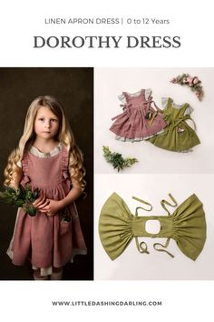 A dress for special occasion or everyday adventures. It's layered here with our Violette loungewear. Photo credits to the amazing PureAisling Pinafore Dress Pattern, Tunic Pattern, Linen Apron Dress, Linen Dresses, Knot Dress, Wrap Dress, Dress Patterns, Apron Patterns, Little Girl Fashion