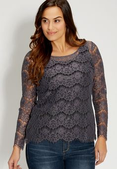 plus size scalloped lace top - #maurices