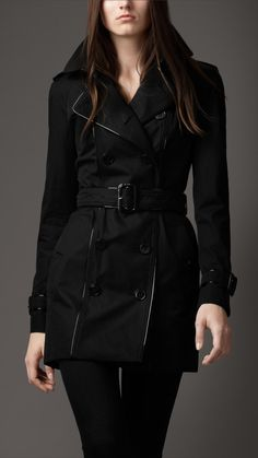 Burberry London womens patent piped trench coat 1
