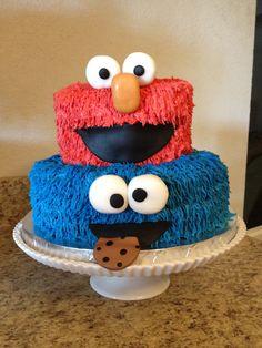 Sesame Street Cake - Elmo and Cookie Monster birthday cake