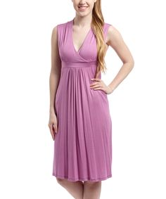 This Lilac Surplice Dress by GLAM is perfect! #zulilyfinds