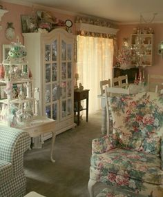 This is my kind of shabby chic. Not so much white on everything. I like color and prints too.