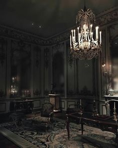 Another great example of a really cool gothic living area Gothic Interior, Interior And Exterior, Interior Design, Gothic Aesthetic, Slytherin Aesthetic, Dark Castle, Gothic House, Victorian Gothic Decor, Bedroom Black