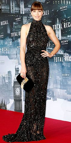 Jessica Biel stuns in a black Elie Saab halter gown with gold sequin detail at the film's Berlin premiere.  http://www.peoplestylewatch.com/people/stylewatch/gallery/0,,20620591,00.html#