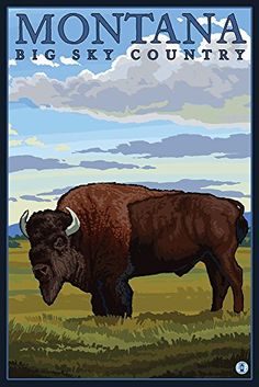 Antelope Island State Park, Utah - Bison and Field: Retro Travel Poster Wall Art, Canvas Prints, Framed Prints, Wall Peels Glacier National Park Montana, Zion National Park, Yellowstone National Park, National Parks, Yellowstone Camping, Glacier Park, Voyage Usa, Mexico Art, National Park Posters
