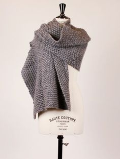 No pattern. Just inspiration. Moss and garter stitch scarf. Would make a lovely blanket too.