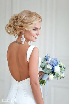 updo wedding hair style and backless wedding dress
