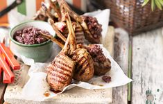 Australia Day recipes - Chargrilled lamb cutlets with basil tapenade Australian Food, Australia Day, Pavlova, Lamb, Stuffed Mushrooms, Vegetables, Healthy, Recipes, Grilled Lamb Chops