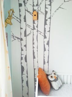 diy birch tree painted mural feature wall nursery kids room - this is just beautiful!!!