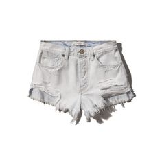 Abercrombie & Fitch High Rise Festival Short ($35) ❤ liked on Polyvore featuring shorts, bottoms, jean shorts, light wash, cotton shorts, high-waisted shorts, distressed denim shorts, distressed high waisted shorts and ripped denim shorts