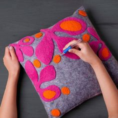 """Craft-tastic Needle Felt Pillow Kit - Ann Williams Group """"Such a fun idea and it's super easy to do too: you simply lay the die-cut felt shapes on the pill Felt Crafts Diy, Felt Diy, Felt Embroidery, Embroidery Stitches, Sewing Projects, Sewing Crafts, Felt Pillow, Cushion Cover Designs, Diy Pillows"""