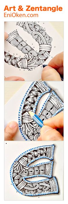 Eni Oken is an award winning artist with 30 years of experience, writing about Zentangle®, Shading, Fantasy design and Jewelry making. Doodle Patterns, Zentangle Patterns, Zen Doodle, Doodle Art, Doodle Drawings, Zentangle Drawings, Colored Pencil Tutorial, Little Doodles, Book Of Kells