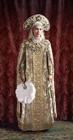 Grand Duchess Xenia Alexandrovna Romanova of Russia in her 1903 Winter Ball costume (colourised).A♥W
