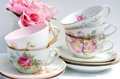Lovely  Tea Cups and Saucers Set of 5. Mismatched by EcoIdeology, $49.99  Great pic, too!