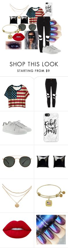 """All American Girl"" by chey2343 ❤ liked on Polyvore featuring WithChic, River Island, Yves Saint Laurent, Casetify, Ray-Ban, Witchery and Lime Crime"